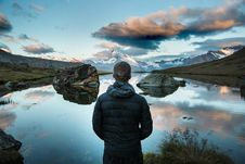 Free Man On Alpine Lake At Sunset Stock Photos - 83037843