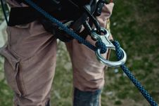 Free Rock Climber With Rope Stock Image - 83038081