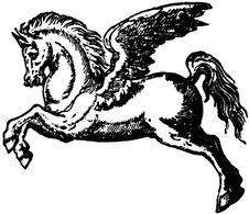 Free Black And White Pegasus Illustration Stock Photo - 83054470