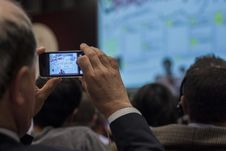 Free Man Recording Event On Smartphone Stock Image - 83055201