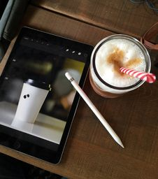 Free Coffee Drink And Tablet Stock Image - 83057711