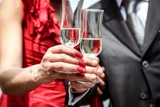 Free Married Couple Toasting With Champagne Stock Photography - 83058122