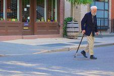 Free Senior Man With Walking Stick Stock Photo - 83058460