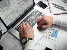 Free Architectural Design On Laptop Stock Images - 83059434