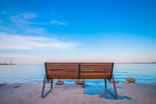 Free Bench On Waterfront Royalty Free Stock Image - 83059556