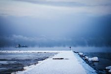 Free White Dock Covered By White Snow Stock Image - 83059661