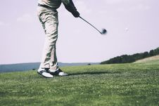 Free Man In White Denim Pants And Black Sandals Playing Golf During Daytime Stock Image - 83059871