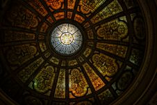 Free Black And Borwn Stained Glass Dome Roof Royalty Free Stock Image - 83059996