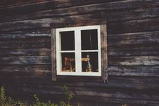 Free White Wooden Window Frame Mounted In Brown Wooden Wall Stock Images - 83060164