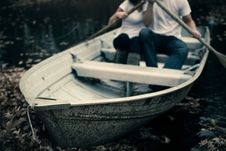 Free Man And Woman Sitting On Boat Holding Paddles Royalty Free Stock Photography - 83060437
