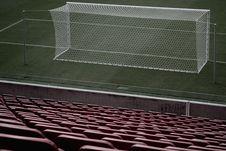 Free Stadium Seats Near White Soccer Goal Royalty Free Stock Photography - 83060887