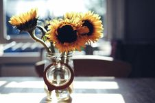 Free Yellow Sunflowers In Clear Glass Jar During Daytime Stock Images - 83061304