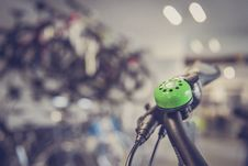 Free Tilt Shift Lens Photography Green Bicycle Bell Switch Royalty Free Stock Image - 83061336