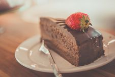 Free Chocolate Cake With Strawberry Stock Photos - 83061353