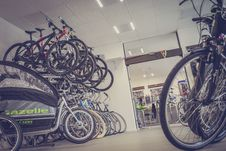 Free Bicycle Hanged And Piled On Bicycle Shop Stock Images - 83061374