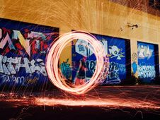 Free Light Painting In Alleyway Royalty Free Stock Images - 83061659