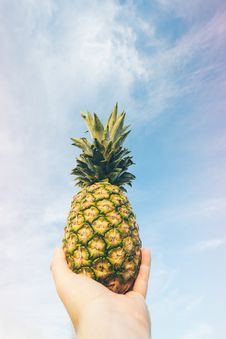 Free Hand Holding Pineapple Against Blue Skies Stock Photo - 83061860