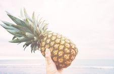 Free Hand Holding Pineapple At Beach Stock Photography - 83061872