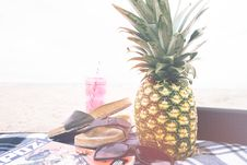 Free Pineapple On Beach Blanket Stock Image - 83061931