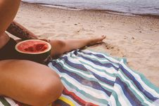 Free Woman Eating Watermelon On Beach Royalty Free Stock Photos - 83061978
