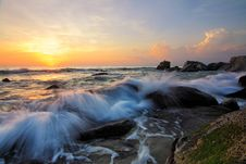 Free Waves On Rocky Shores At Sunrise Royalty Free Stock Images - 83062029