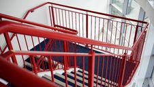 Free Blue And White Wooden Stairs With Red Metal Handrails Stock Photos - 83062383
