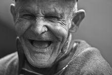 Free Grayscale Photo Of Laughing Old Man Stock Photos - 83062723
