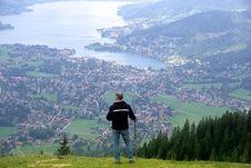 Free Hiker Over Coastal City, Bavaria Stock Image - 83063031