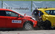 Free Red And Yellow Hatchback Axa Crash Tests Stock Photos - 83063133