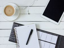 Free Black Pen On White Writing Spring Notebook Between White Ipad And White Ceramic Mug With Latte On White Plate Royalty Free Stock Image - 83063226