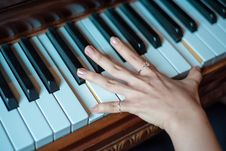 Free Brown Wooden Piano Used By A Person Using 2 Fingers Royalty Free Stock Image - 83063306