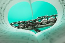 Free Music Note Book And Silver Soprano Flute Close Up Photography Stock Images - 83063324