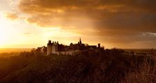Free Castle On Top Of Hill At Sunset Stock Images - 83063374