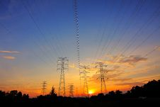 Free Power Transformers At Sunset Stock Photography - 83063642