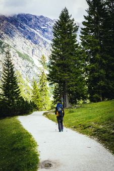 Free Person With Backpack Hiking Near Trees And Green Grass Stock Image - 83063701