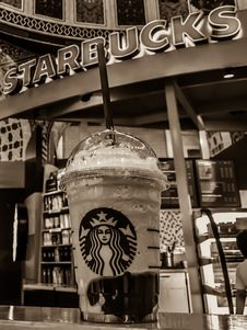 Free Starbucks Stall Grayscale Photo Royalty Free Stock Image - 83063816