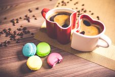 Free White And Red Couple Heart Mug Filled With Coffee And Macaroons Stock Image - 83064161