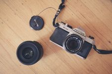 Free Black And Silver Pentax Digital Camera Beside Black Camera Lens Stock Photography - 83064162
