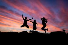Free Silhouette Of 3 People Jumping Royalty Free Stock Photo - 83064355