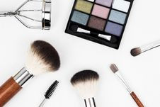 Free Black Make Up Palette And Brush Set Royalty Free Stock Images - 83064459