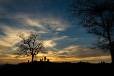 Free Silhouette Of Person Near Bare Tree At Sunset Stock Photos - 83064673