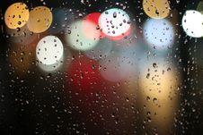 Free Bokeh Lights Through Rainy Window Stock Photography - 83064682