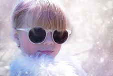 Free Woman With Sunglasses In White Fur Shirt Royalty Free Stock Images - 83064949