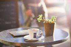Free Cup Of Coffee On Table Beside Plant Stock Photos - 83065133