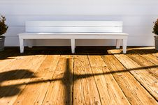 Free Wooden Bench On Deck Royalty Free Stock Images - 83065169