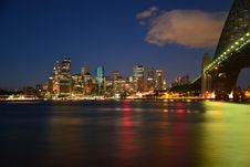 Free Panoramic Photography Of Metropolis Next To Bridge During Night Time Royalty Free Stock Photography - 83065187