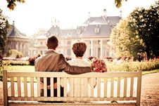Free Wedding Couple On Bench Stock Photos - 83065213
