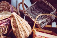 Free Stacked Brown Wicker Baskets Royalty Free Stock Images - 83065459