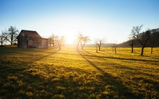 Free Barn In Field At Sunset Royalty Free Stock Photos - 83065648