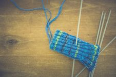 Free Green Blue And Black Crochet Textile With 1 Rod In Textile Stock Images - 83065794